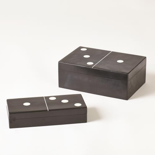 Dominoes Box-Black w/White Dots