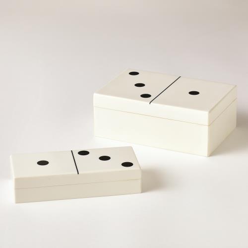 Dominoes Box-White w/Black Dots