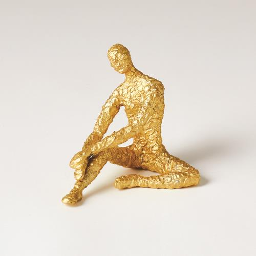 Figural Male Dancer-Sitting-Textured Gold