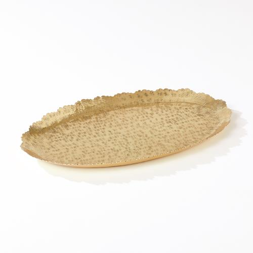 Hammered Oval Tray-Brass
