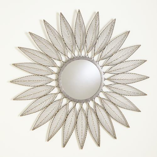 Leaf Motif Mirror-Natural Iron