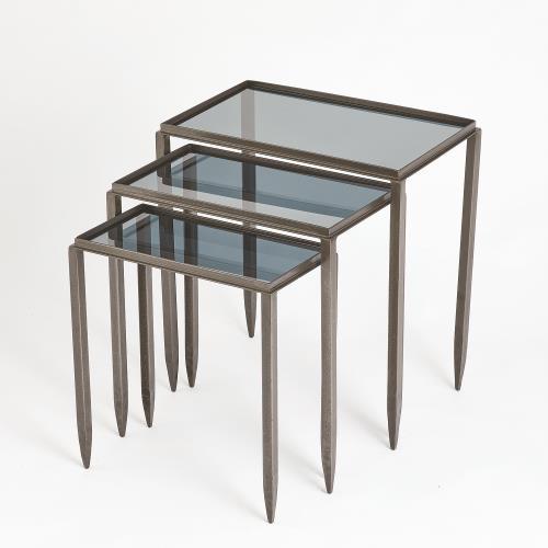 S/3 Nested Tables w/Smoke Glass-Light Gunmetal